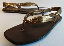 Woman's Report Sandal Size 7 Wrap Around Sandal  Gold Color metallic fancy