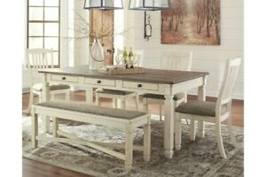 Bolanburg Dining Table and 4 Chairs and Bench Set