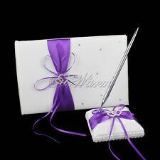 Wedding Guest Book + Pen Set Double Heart Rhinestone Decor Wedding Party Favor