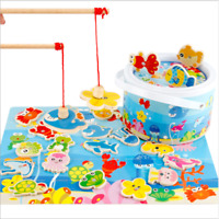 Fun Children's Baby Wooden Magnetic Fishing Game Set Toy Educational Kids Toy