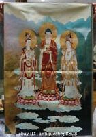 """36"""" Tibet Silk Satin three saints West Guan Yin Goddess Buddhist Thangka Mural A"""