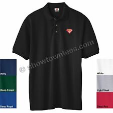 Superman - Supergirl Logo (2 Color) Embroidered Polo in 7 Colors ALL Sizes S-6XL