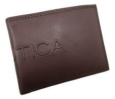 New Nautica Men's Leather RFID Bifold Wallet with Coin Pocket - Cognac
