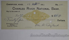 Obsolete Bank Check Charles River National Bank Cambridge MA 1901 on Stamp