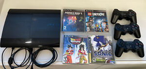 Sony PlayStation 3 80GB Black Console, With 3 Controller And 4 Games