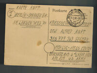 1946 Berlin Germany to USA Army POW Camp Postcard Cover Prisoner of War APO 809