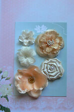 IVORY APRICOT 5 Flower Mix Designs SATIN SILK 3 Leaves 35-75mm Green Tara D