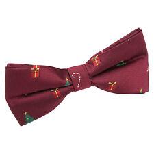 Burgundy Boys Christmas Bow Tie Xmas Festive Patterned Novelty Bowtie by DQT