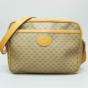 GUCCI Micro GG Pattern PVC Canvas Leather Shoulder Bag Purse 004 14 0712 JUNK