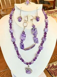 Faceted Amethyst Charoite Set Necklace Ring Bracelet Purple Silver Earrings