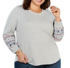 New listing Style & Co. Women Sweatshirt Gray Size 3X Plus Embroidered Bishop Sleeve $59 066