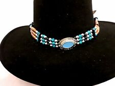 TURQUOISE MEDALLION W/SILVER, BLACK /TURQUOISE COLOR BEADS HATBAND/NECKLACE