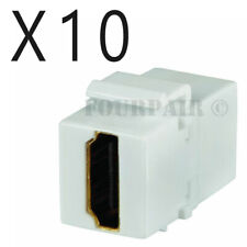 10 Pack Lot HDMI Keystone Wall Plate Snap-In Jack Insert Coupler Female - White