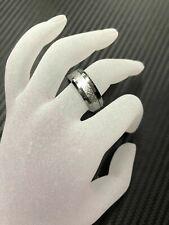 8mm Men Genuine Tungsten Carbide with Meteorite Inlay Wedding Band Ring