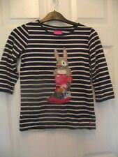 BNWT Joules Girls Cream Ditsy Neopolitan Striped Mishmash Soft Long Sleeved Top