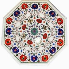 30'' white Marble Coffee Table Top Marquetry Semi Precious Inlay Kitchen room