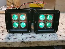 Pair 3inch Green Back light Cree Led BackLight Cube Pods Flood SUV Lamp Jeep