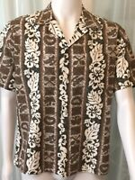 HOWIE Short Sleeve Hawaiian Shirt TAN SMALL floral lei Palm like hilo & bahama