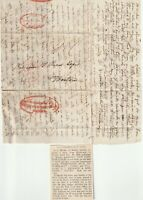 c.1836 2 DIFF H/S FORWARDING AGENTS CACHETS PARIS & HAVRE LETTER TO BOSTON USA