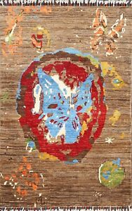 3'x4' Butterfly Abstract Oriental Contemporary Area Rug Hand-knotted Wool Carpet