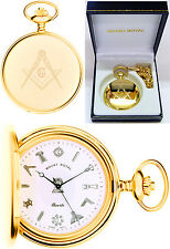 Sale - Mount Royal Masonic Hunter Pocket Watch GP Swiss Quartz Free Engr 411pq