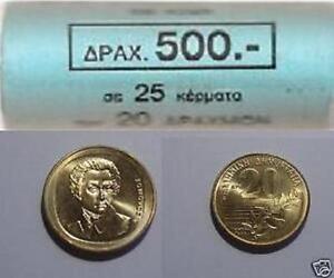 Greece Grece Grecia  Греция 希腊 20 Drachma coin roll year 1990 UNC BU KM# 154