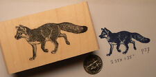 "Fox rubber stamp wood mounted and deep etched 2.5x1.5"" P23"