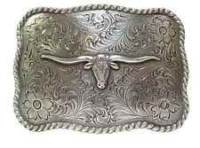 Longhorn Steer Trophy Sterling Silver Plated Western Belt Buckle