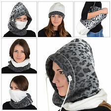 Ladies 6 In 1 Snow Leopard Polar Fleece Hood Balaclava Neck Ski Hat Scarf Mask