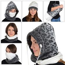 Onorevoli 6 in 1 Snow Leopard Pile Cappuccio Balaclava COLLO SCI cappello sciarpa maschera