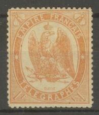 "FRANCE STAMP TIMBRE TELEGRAPHE N° 7 "" 1F ORANGE SENTELE 1868 "" NEUF x TB"