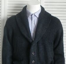 NEW Mens SIZE 2XL XXL ALPACA Dark Gray Ribbed Shawl Collar Cardigan Sweater PERU