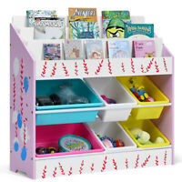 Kids Toy Storage Shelf Magazine Organizer Bins& Book Shelves For Children House