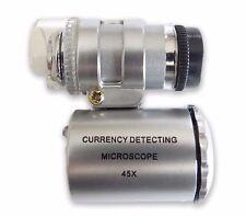 Gift Idea 45X LED Mini Pocket Microscope Magnifying Glass Loupe Optical Tool