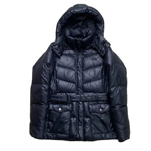 Womens Small The North Face Black Shine Hooded / Belted Down Parka 550 Fill
