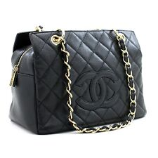 a46 CHANEL Authentic Caviar Chain Shoulder Bag Shopping Tote Black Quilted Purse