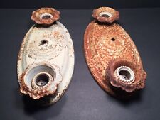 """""""AS IS"""" PAIR OF ANTIQUE METAL FLUSH MOUNTED LIGHT FIXTURES! NEED RESTORATION!"""