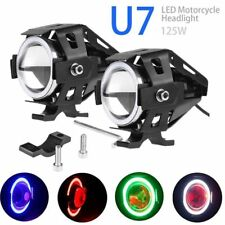 2PCS Cree U7 LED Motorcycle Headlight Fog Spot Light Lamp Angle Eyes + Devil Eye
