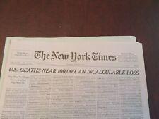 NEW YORK TIMES Sun. 5/24/2020 'U.S. DEATHS NEAR 100,000, AN INCALCULABLE LOSS'