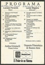 Argentina Programme 9 de Julio Av Opera Luciano Pavarotti 1991