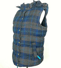 BODEN Women's Plaid Quilted Hooded Down Wool Vest Jacket Coat Size 12 Brown Blue