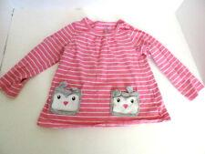 Girl Infant long sleeve shirt pink/white stripes rabbit pockets on front 18Month