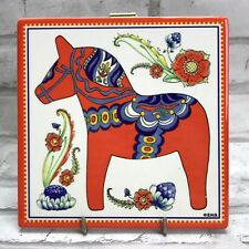 Red Dala Horse Dalahäst Trivet Art Tile Plaque Sign Wall Hanging Sweden Sverige