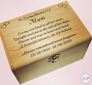 Human Casket Urn for Ashes Wooden Pine Box Personalised Inscription MemorialUrn