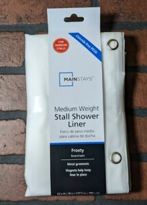 """MANSTAYS  STALL SIZE Waterproof Vinyl Shower Curtain Liner, 54 x 78"""" Clear Frost"""