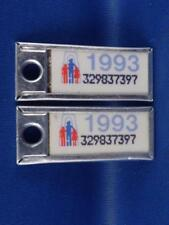 ONTARIO WAR AMPS TAG SET 1993 PAIR TAG KEY RING  MINI LICENSE PLATE 32903...