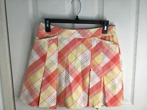 Lady Hagen Orange Plaid Pleated Golf Skort Skirt Size 4