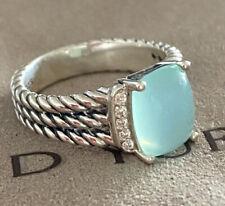 David Yurman Silver Petite Wheaton Chalcedony Diamond Ring Size 7.5