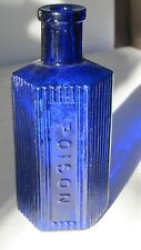 Rare 6-Sided Studs Blue Poison Bottle Not to Be Taken 5 3/8� tall