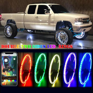 NEW Double Side Truck LED Wheel Rings Light 17'' inch RGB Illuminated Bluetooth